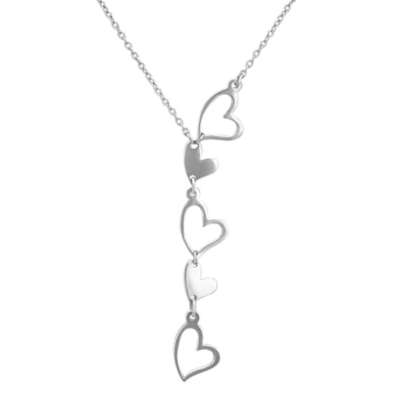 Floating Hearts Sterling Silver Necklace (18 in)