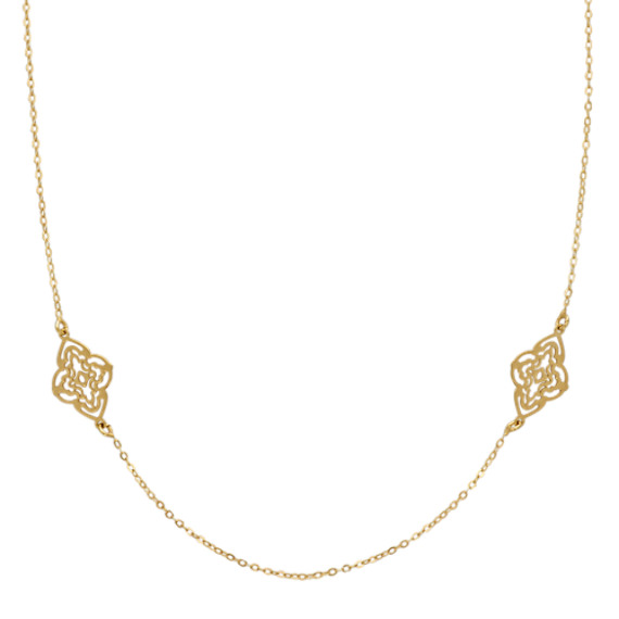 Floral Accent Necklace in 14k Yellow Gold (18 in)
