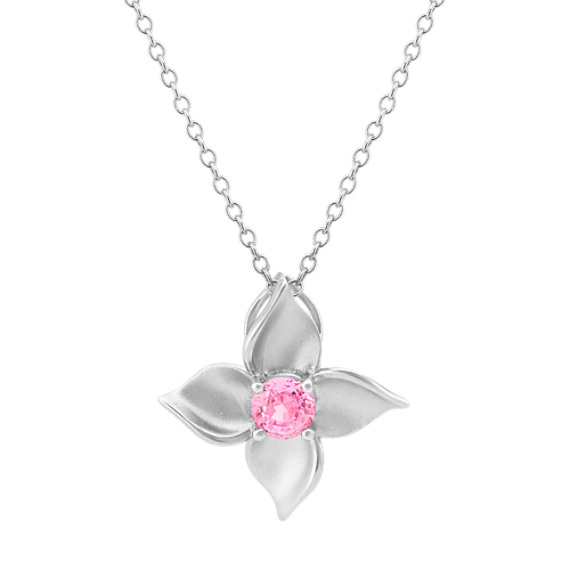 Floral Pink Sapphire Pendant (20 in)