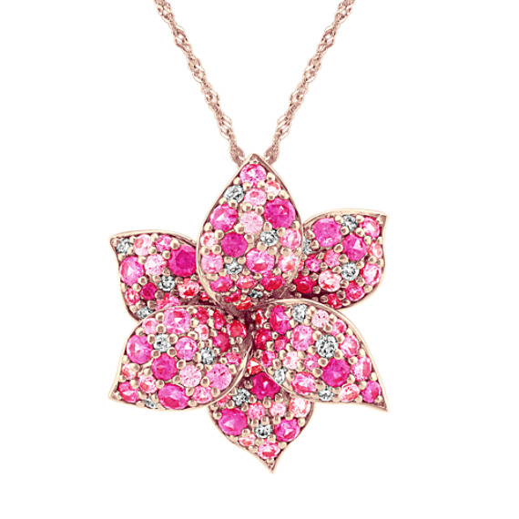 Flower Pink Sapphire and Diamond Pendant (22 in)