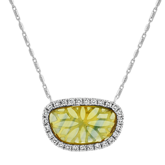 Freeform Green Sapphire and Diamond Necklace (16