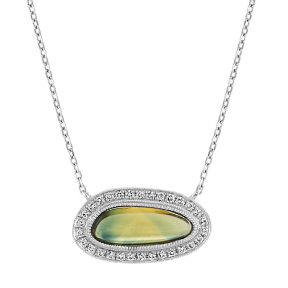 Freeform Green Sapphire and Diamond Necklace (18 in)