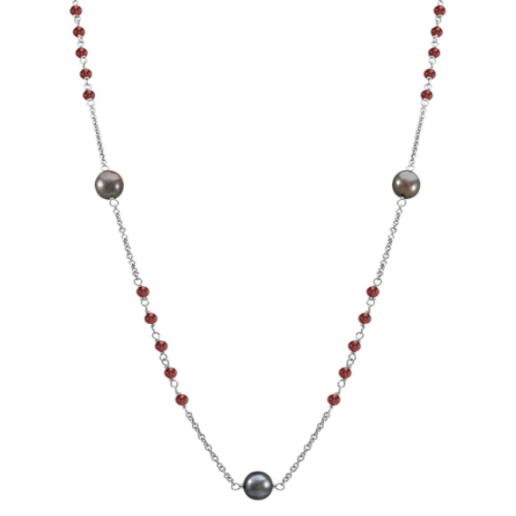 Garnet, 9mm Cultured Tahitian Pearl and Sterling Silver Necklace (32 in)