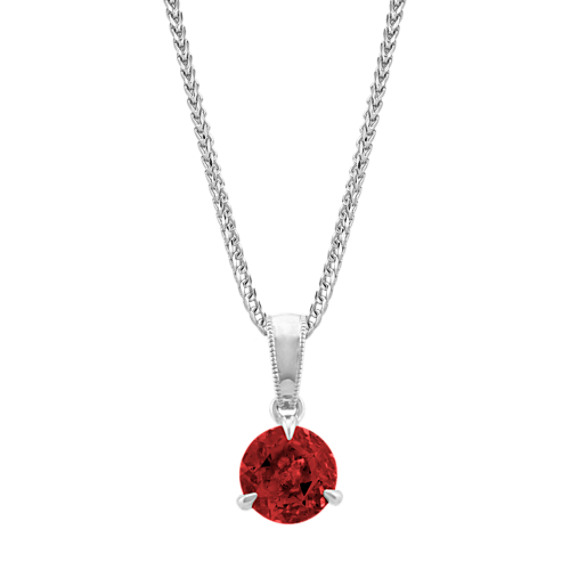 Garnet Solitaire Pendant in Sterling Silver (22 in)