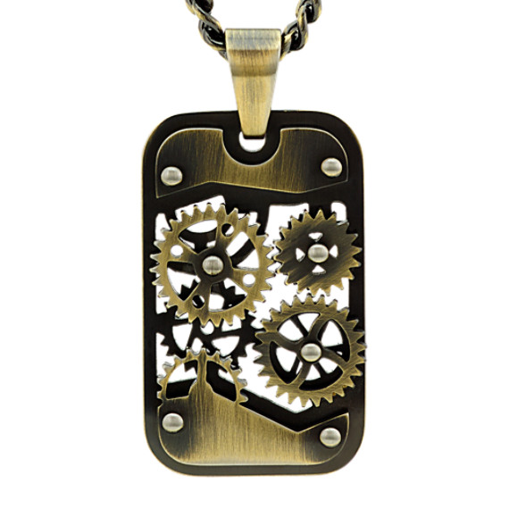 Gear Dog Tag Necklace in Stainless Steel (24 in)