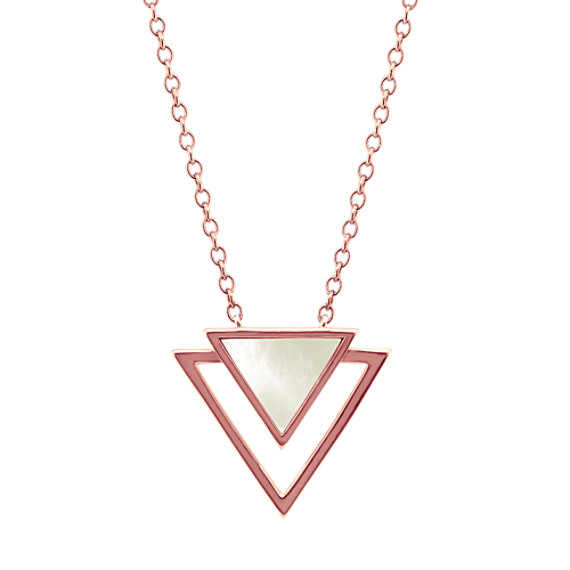 Geometric Mother-of-Pearl Triangle Necklace (18 in)