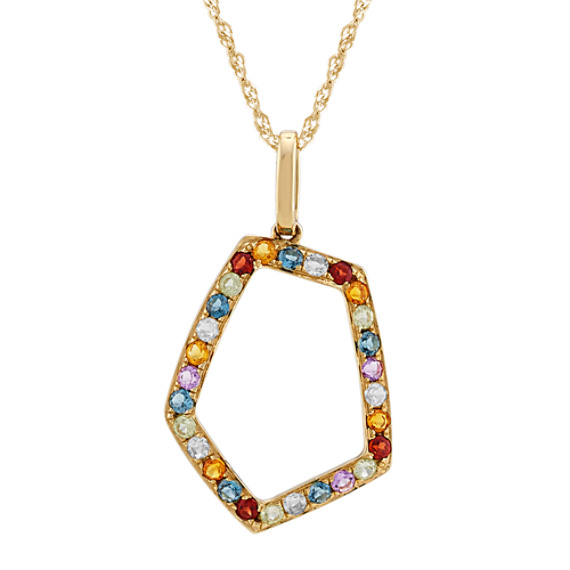Geometric Multi-Colored Gemstone Pendant (20 in)