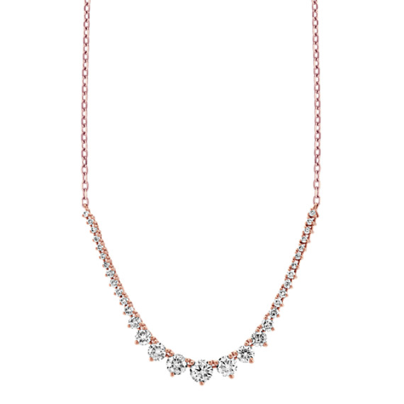 Graduated Diamond Necklace in 14k Rose Gold (18 in)