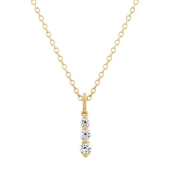 Graduated Diamond Three-Stone Pendant in 14k Yellow Gold (22 in)