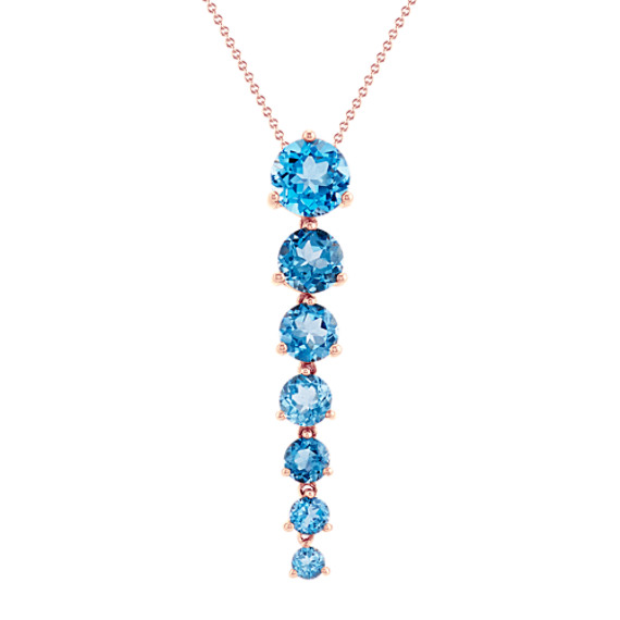 Graduated London Blue Topaz Dangle Pendant (22 in)