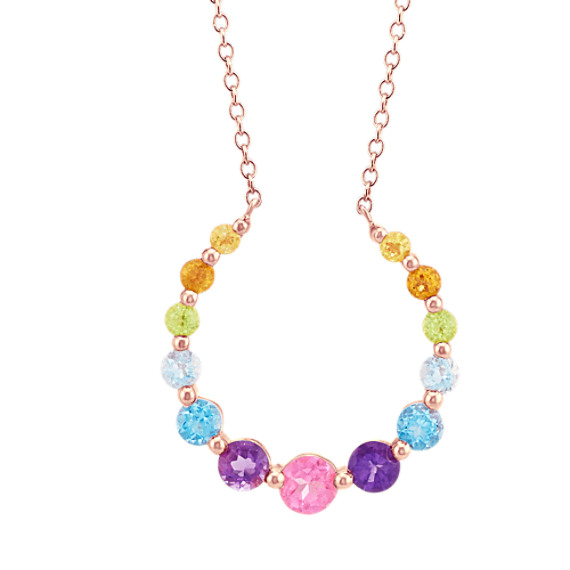 Graduated Multi-Gemstone Necklace (18 in)