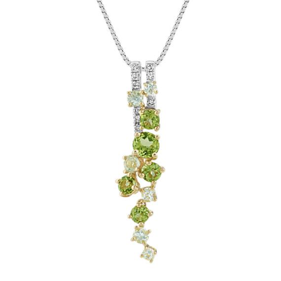 Green Quartz, Peridot and Diamond Pendant (18 in)