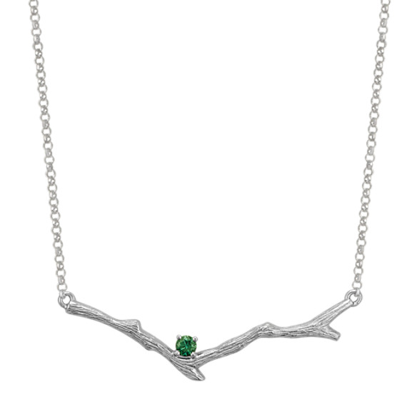 Green Sapphire Branch Necklace in Sterling Silver