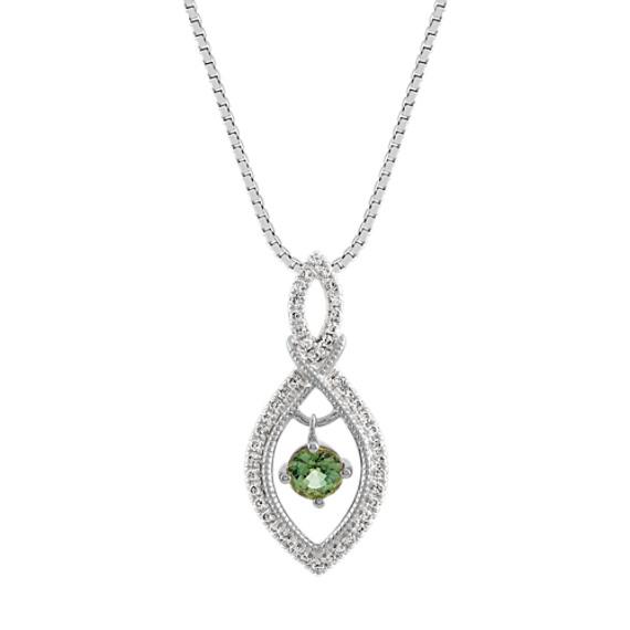 Green Sapphire and Diamond Infinity Pendant (18 in)