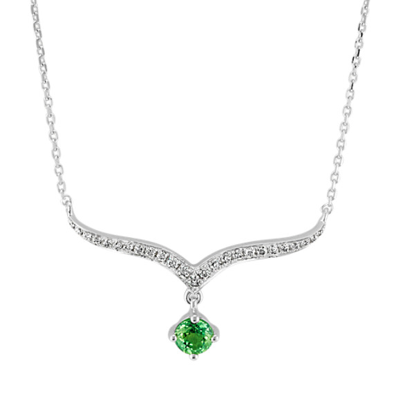 Green Sapphire and Diamond Necklace (16 in)