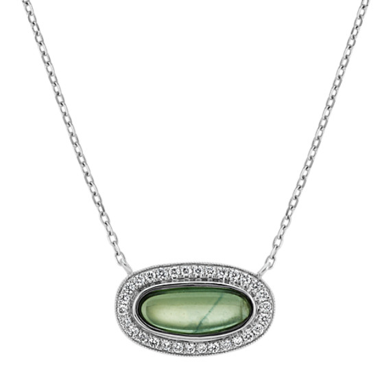 Green Sapphire and Diamond Necklace (18 in)