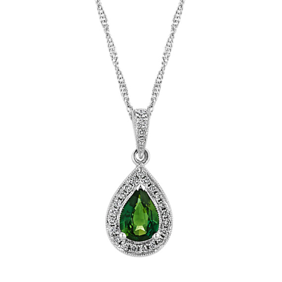 Green Sapphire and Diamond Pendant in 14k White Gold (22 in)