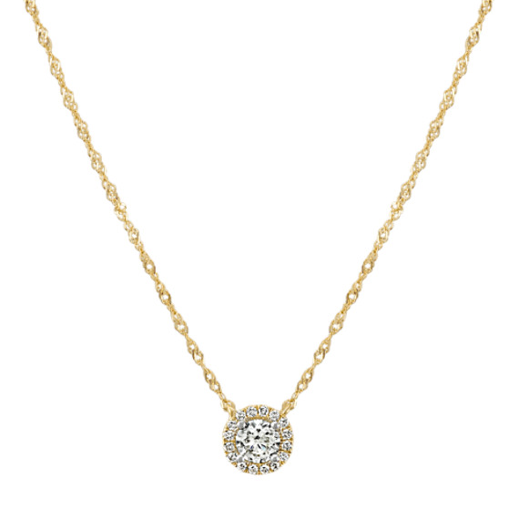 Halo Diamond Necklace in 14k Yellow Gold (18 in)