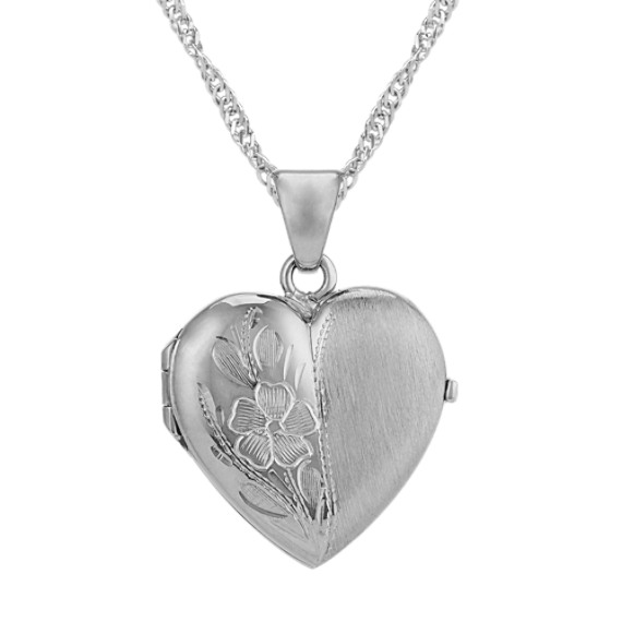 Heart Locket with Floral Detailing in 14k White Gold (18 in)