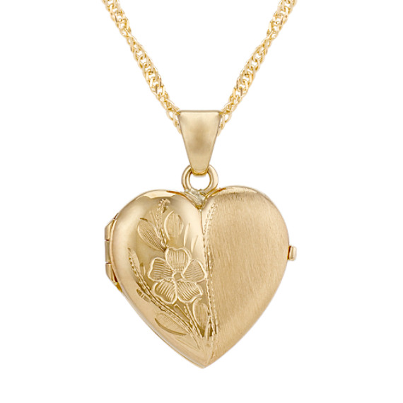Heart Locket with Floral Detailing in 14k Yellow Gold (18 in)