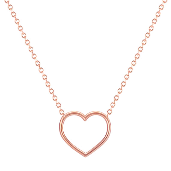 Heart Necklace in 14k Rose Gold (18 in)