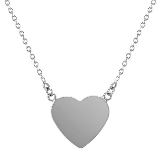 Heart Necklace in 14k White Gold (18 in)