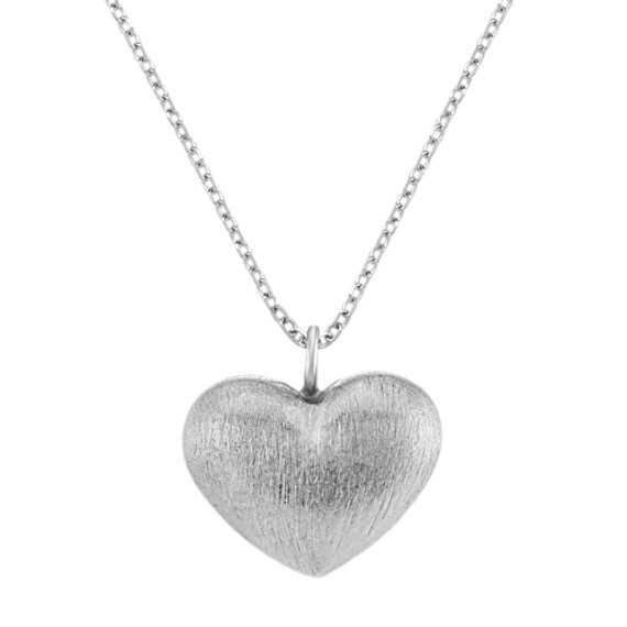 Heart Pendant in Sterling Silver with Satin Finish (18 in)