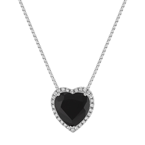 Heart-Shaped Black Sapphire and Round Diamond Pendant (18 in)