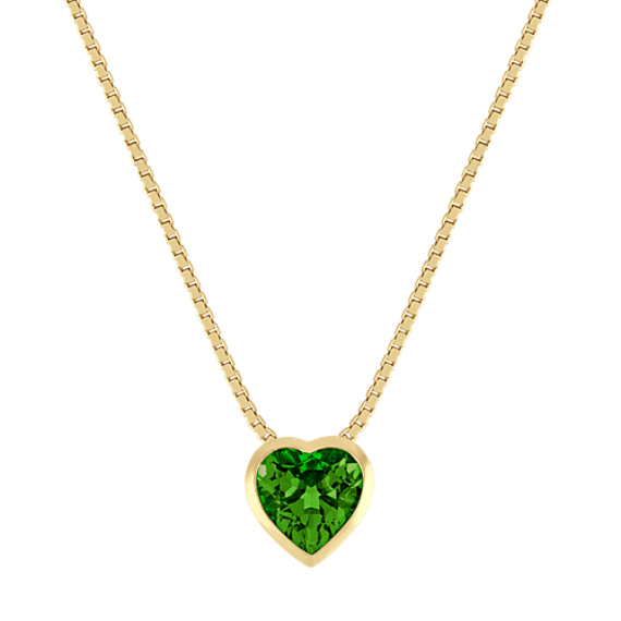 Heart-Shaped Chrome Diopside Pendant in 14k Yellow Gold (18 in)