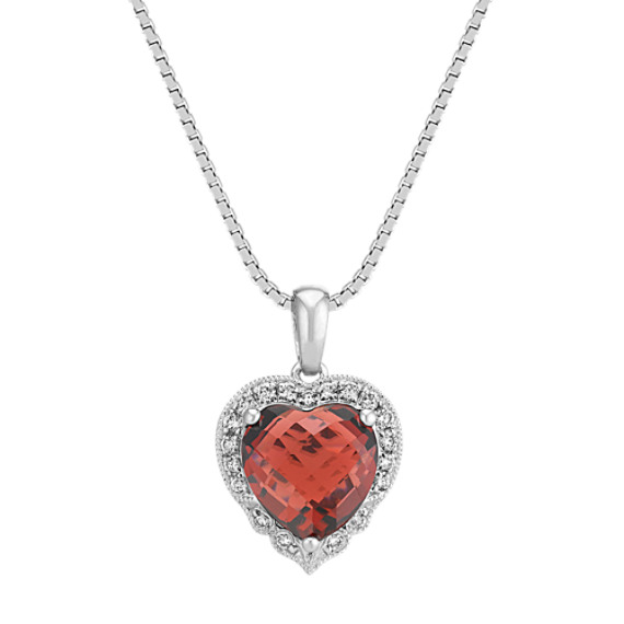 Heart-Shaped Garnet and Round Diamond Heart Pendant (18 in)