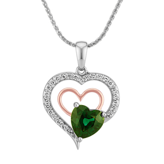 Heart-Shaped Green Sapphire and Round Diamond Holding Hearts Pendant (22 in)