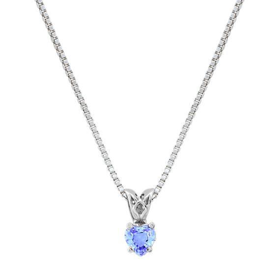 Heart-Shaped Ice Blue Sapphire Pendant (18 in)