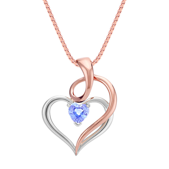 Heart Shaped Ice Blue Sapphire Swirl and Heart Pendant (18 in)