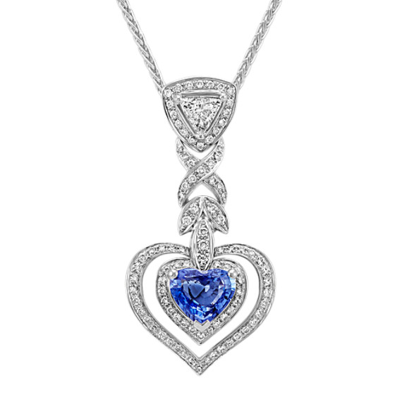 Heart-Shaped Ice Blue Sapphire, Trillion and Round Diamond Pendant (18 in)