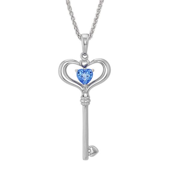 Heart-Shaped Kentucky Blue Sapphire Key Pendant in Sterling Silver (20 in)
