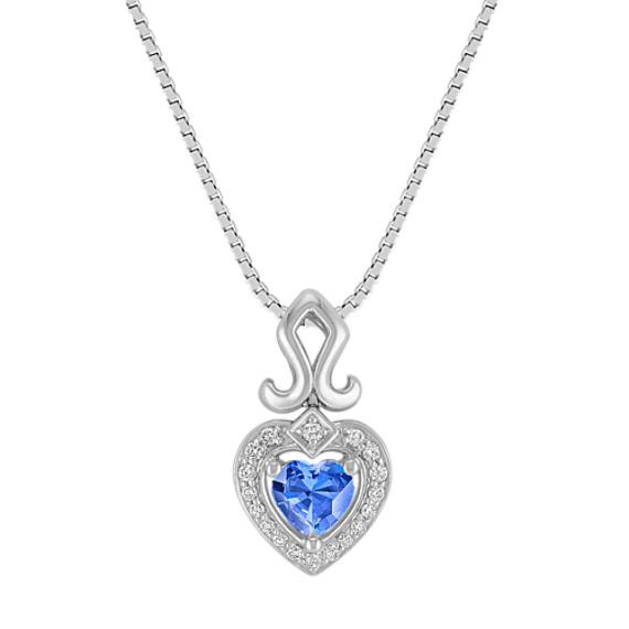 Heart-Shaped Kentucky Blue Sapphire Pendant in Sterling Silver (18 in)