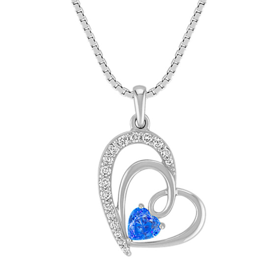 Heart-Shaped Kentucky Blue Sapphire Pendant in Sterling Silver (18 in)