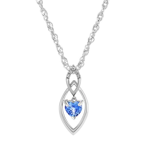 Heart-Shaped Kentucky Blue Sapphire & Diamond Pendant (20 in.)