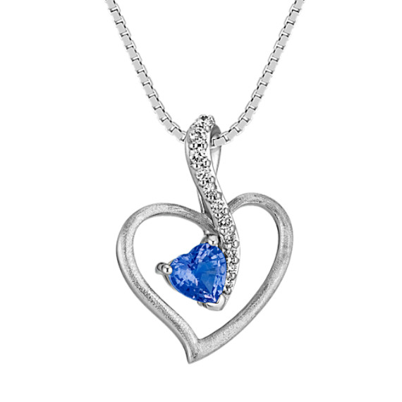 Heart-Shaped Kentucky Blue Sapphire and Round Diamond Pendant (18 in)