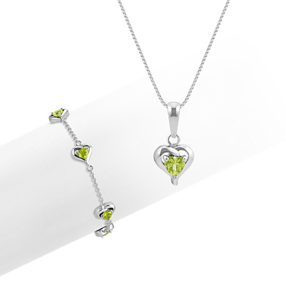 Heart-Shaped Peridot Pendant and Bracelet 2-Piece Set (18 in)