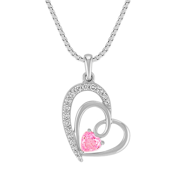 Heart-Shaped Pink Sapphire and Diamond Pendant in Sterling Silver (18 in)