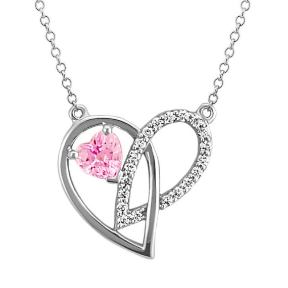 Heart-Shaped Pink Sapphire and Round Diamond Creative Heart Pendant (18 in)