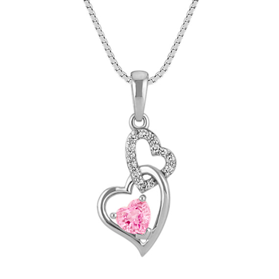 Heart-Shaped Pink Sapphire and Round Diamond Double Heart Pendant (18 in)