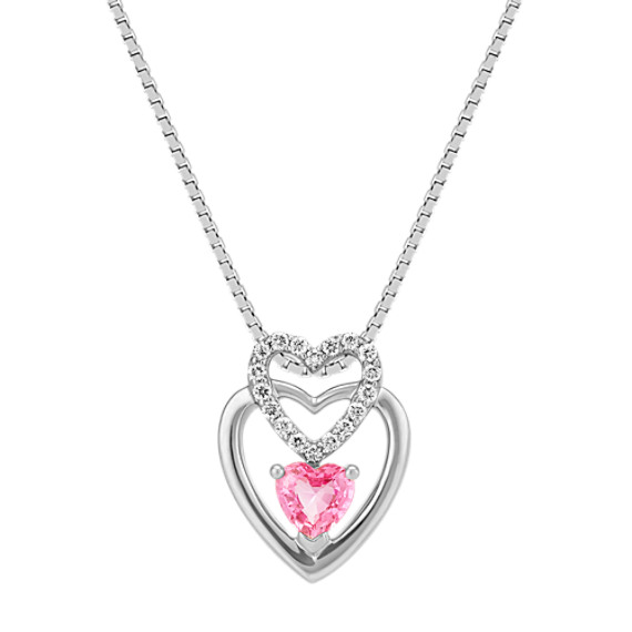 Heart Shaped Pink Sapphire and Round Diamond Heart Pendant (18 in)