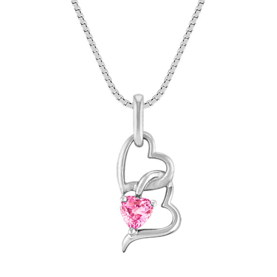 Heart-Shaped Pink Sapphire and Sterling Silver Heart Pendant (18 in)