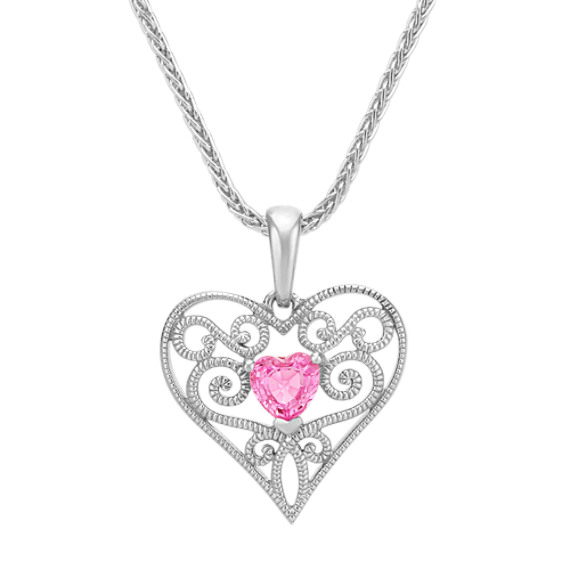 Heart Shaped Pink Sapphire and Sterling Silver Heart Pendant (18 in)
