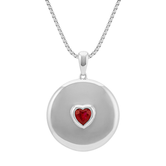 Heart-Shaped Ruby Circle Pendant in 14k White Gold (22 in)