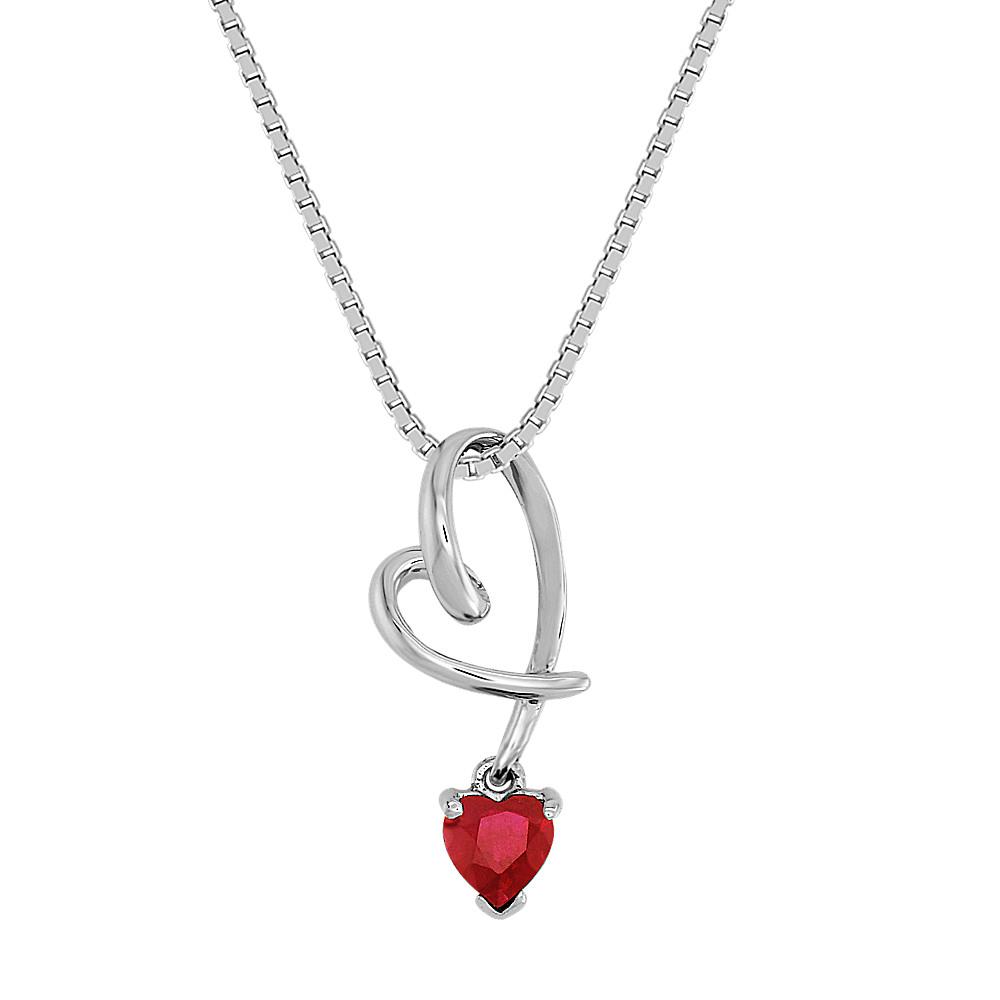 Heart-Shaped Ruby Heart Pendant (18 in)   Shane Co.