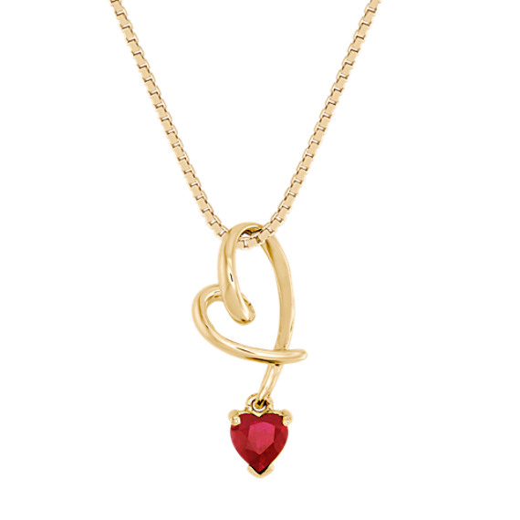 Heart-Shaped Ruby Heart Pendant (18 in)