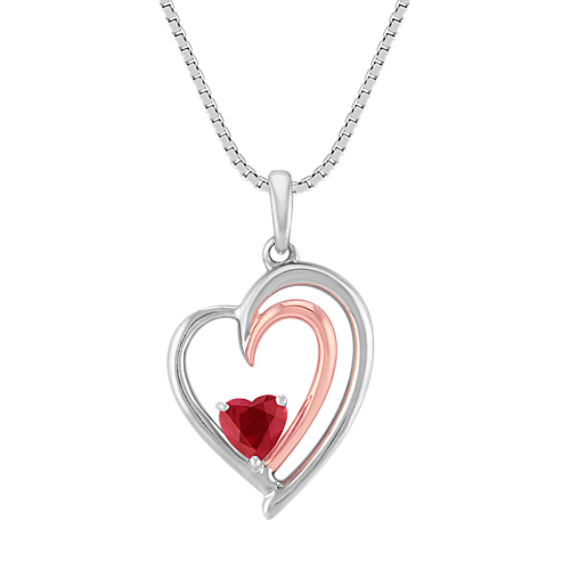 Heart-Shaped Ruby, Sterling Silver and 14k Rose Gold Pendant (18 in)